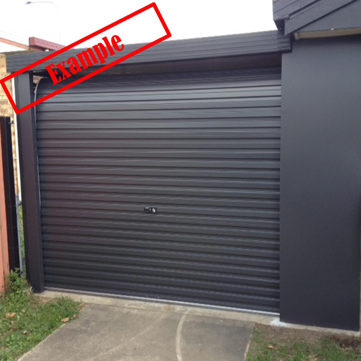 A Series Steel Line Garage Roller Door Monument Colour