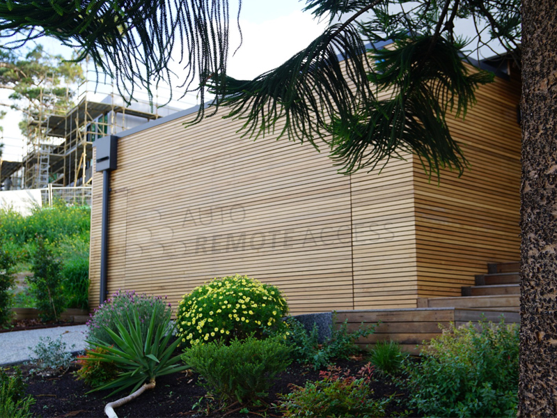 Wooden cedar batten horizontally cladded on aluminium frame Custom garage door flush finish